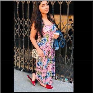 Zara plaid floral dress print NWT spaghetti strap